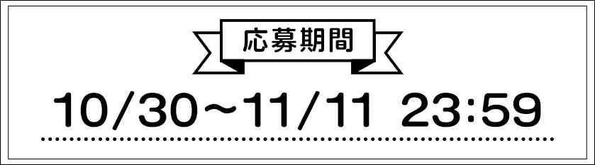 応募期間10/30〜11/11 23:59
